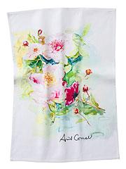 Peony Watercolor Tea Towel