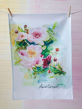 Peony Watercolor Tea Towel