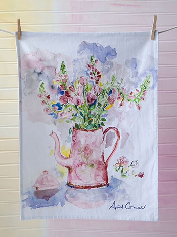 Tea Party Watercolor Towel