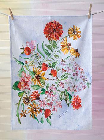 Zinnia Bouquet Tea Towel