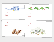 Holly & Pinecones, Chickadees & Ribbons Gift Tags
