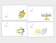 Dreidels, Menorahs, Stars of David & Peace Doves Gift Tags