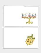 Menorahs & Dreidels Holiday Place Cards
