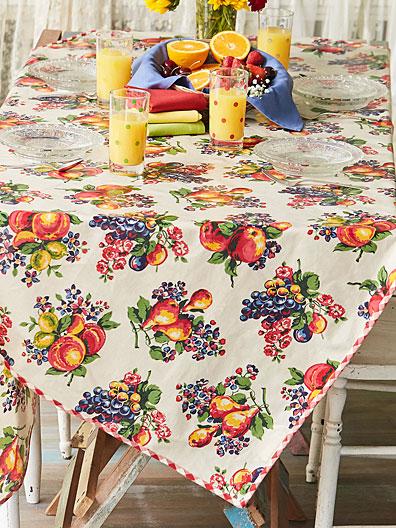 Fruit Basket Oilcloth Linens Amp Kitchen Tablecloths