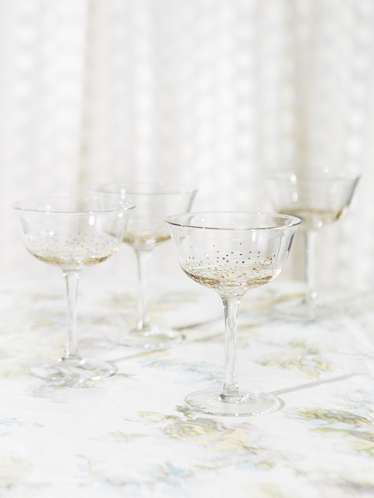 Champagne Bubble Coupe Glasses, Set of 4