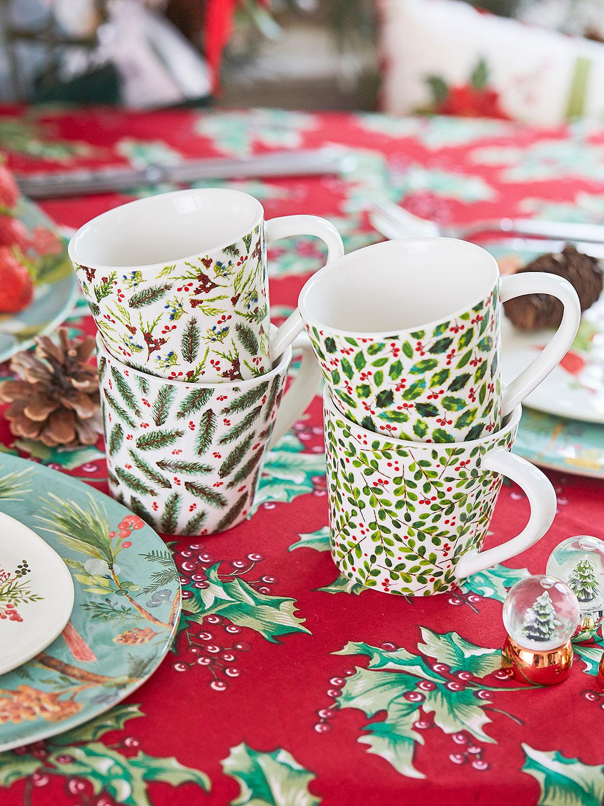 Christmas Botanical Porcelain Mugs Set of 4