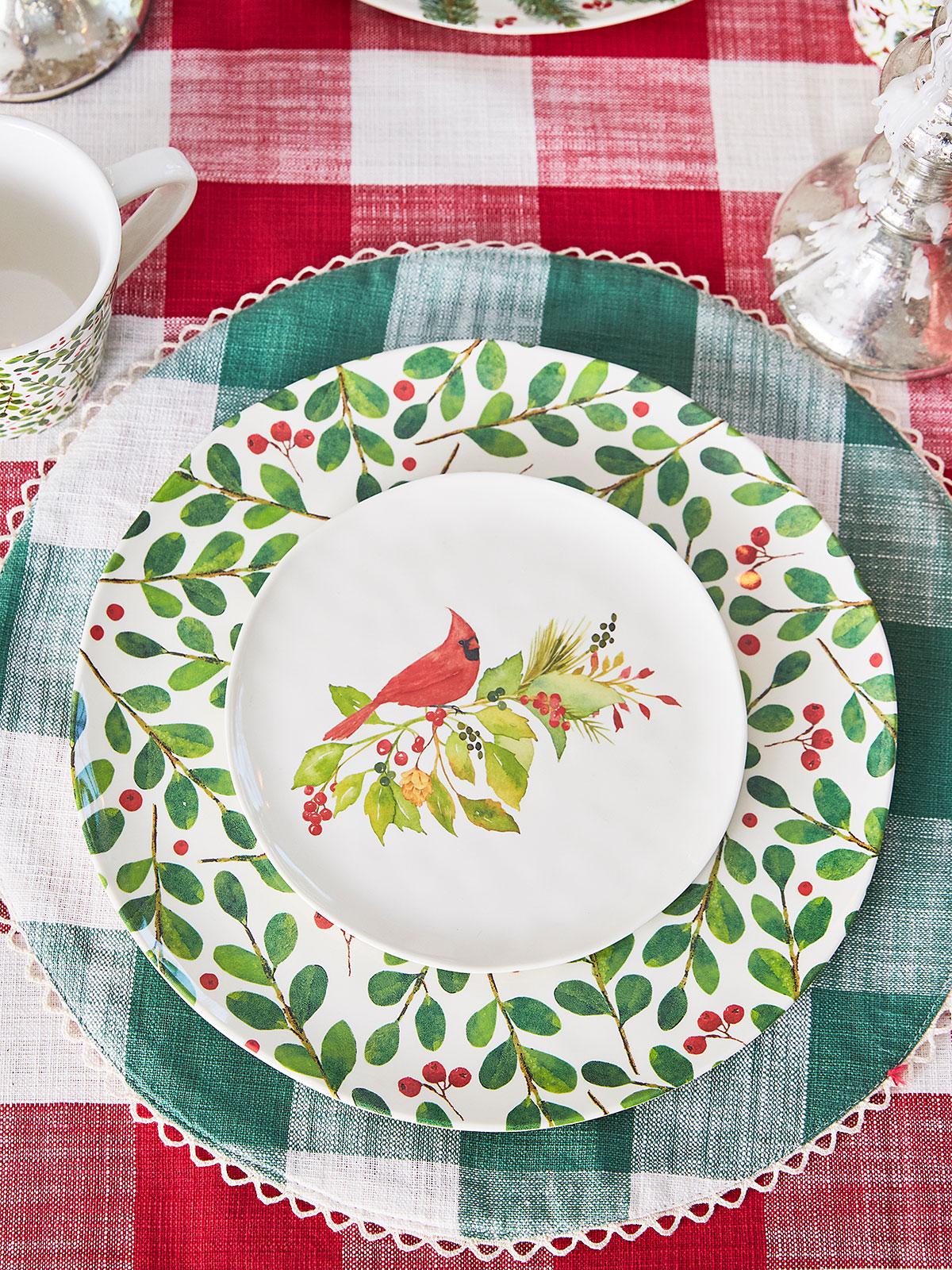 Botanical Melamine Dinner Plate Set of 4
