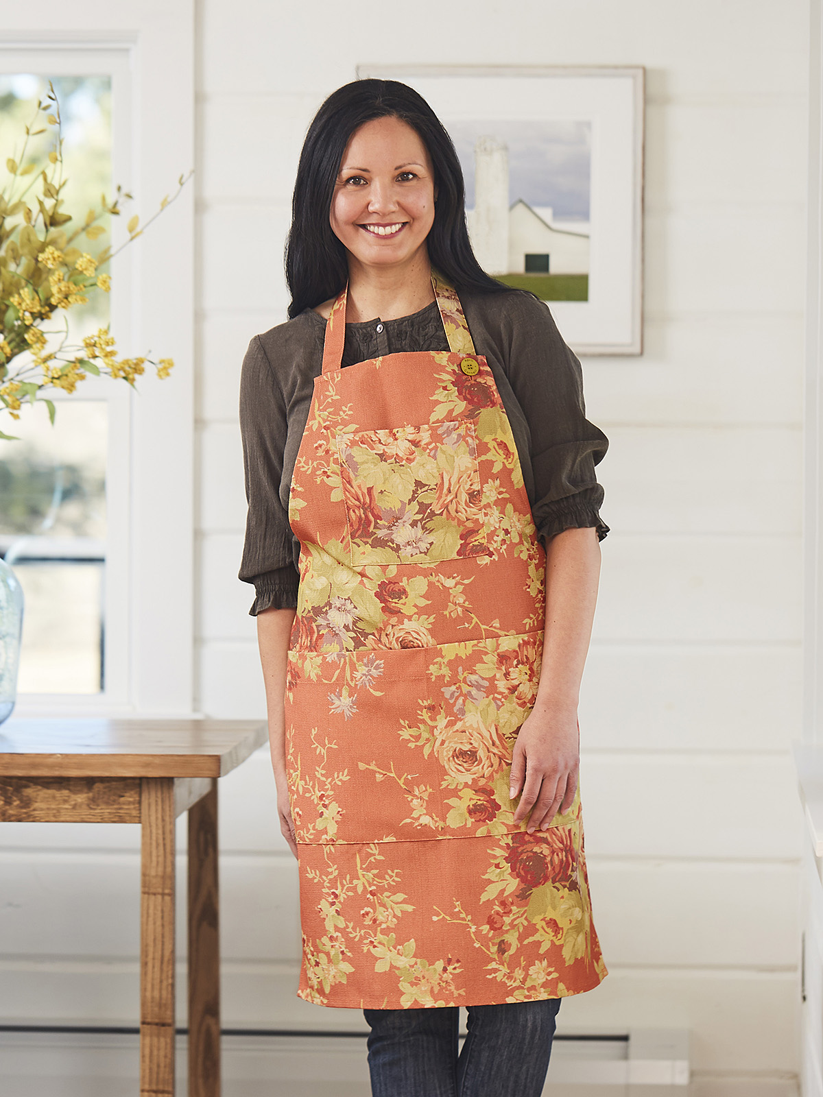 Cottage Rose Outdoor Chef Apron