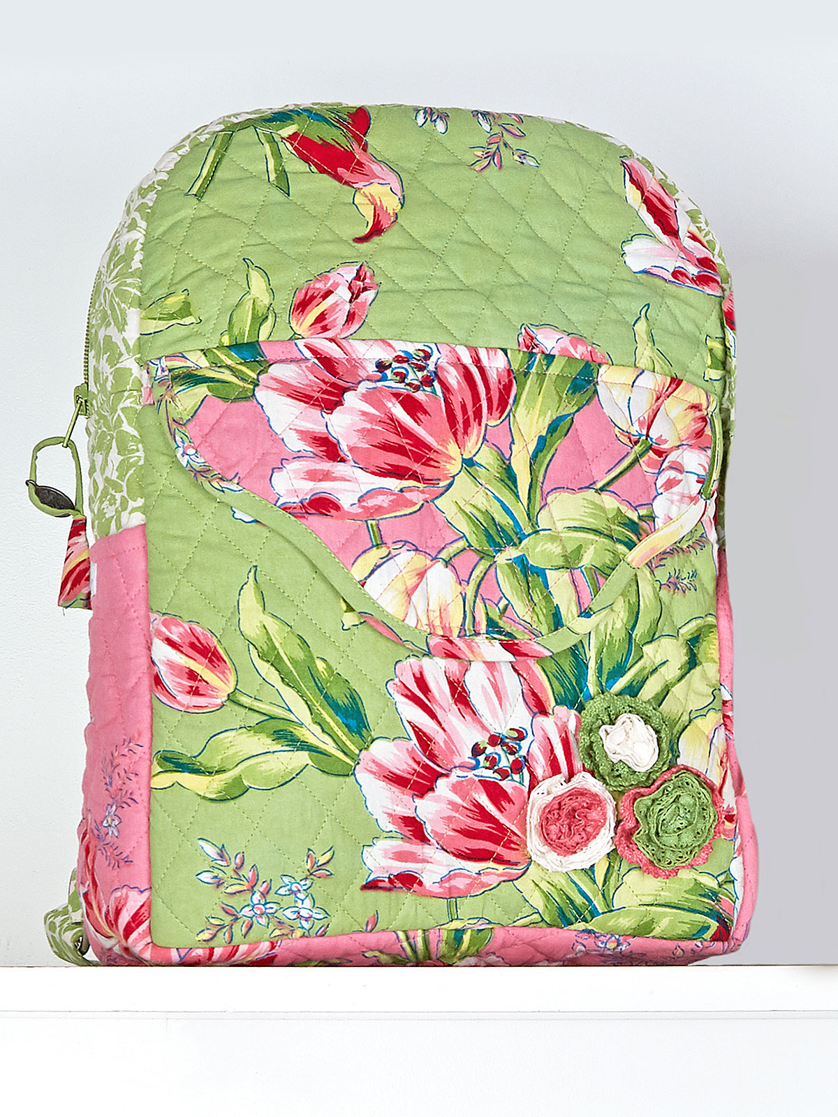Spring Bouquet Patchwork Quilted Backpack