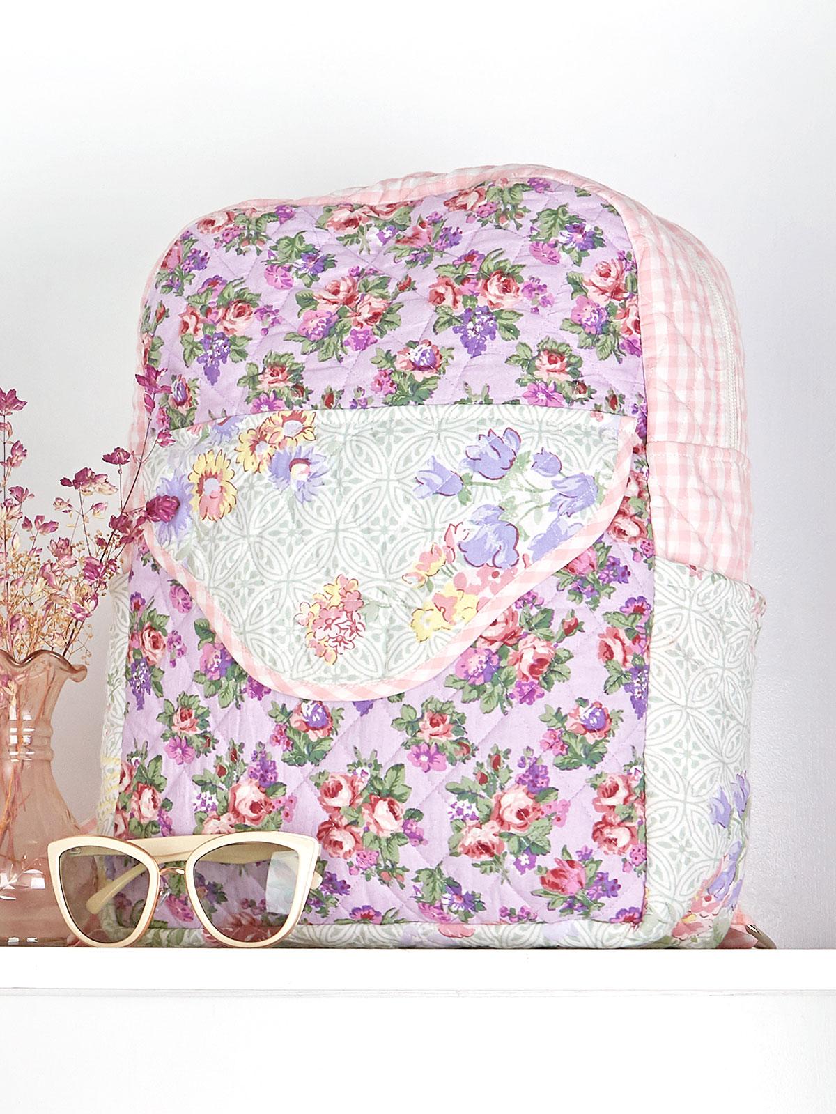 Tea Garden Patchwork Quilted Backpack
