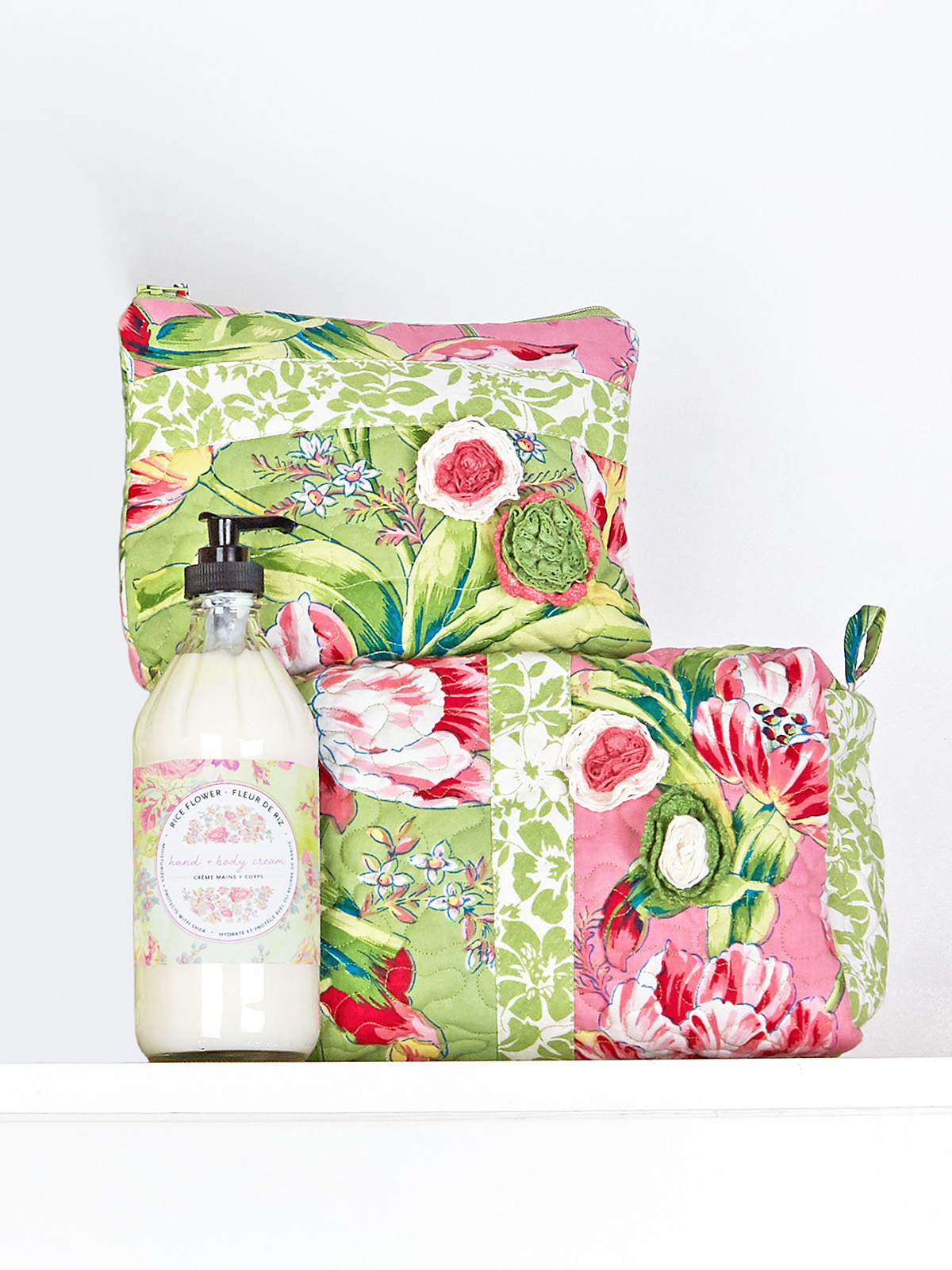 Spring Bouquet Patchwork Cosmetic Bag Set of 2