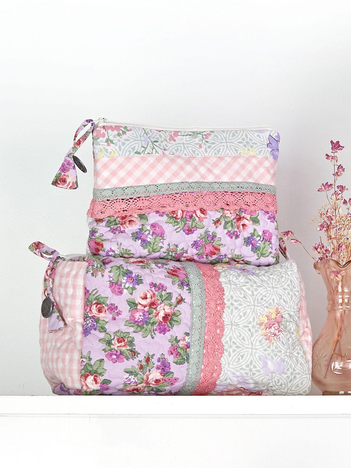 Tea Garden Patchwork Cosmetic Bag Set of 2