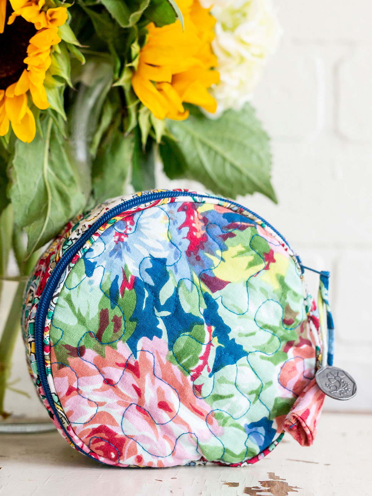 Everyday Patchwork Round Cosmetic Bag