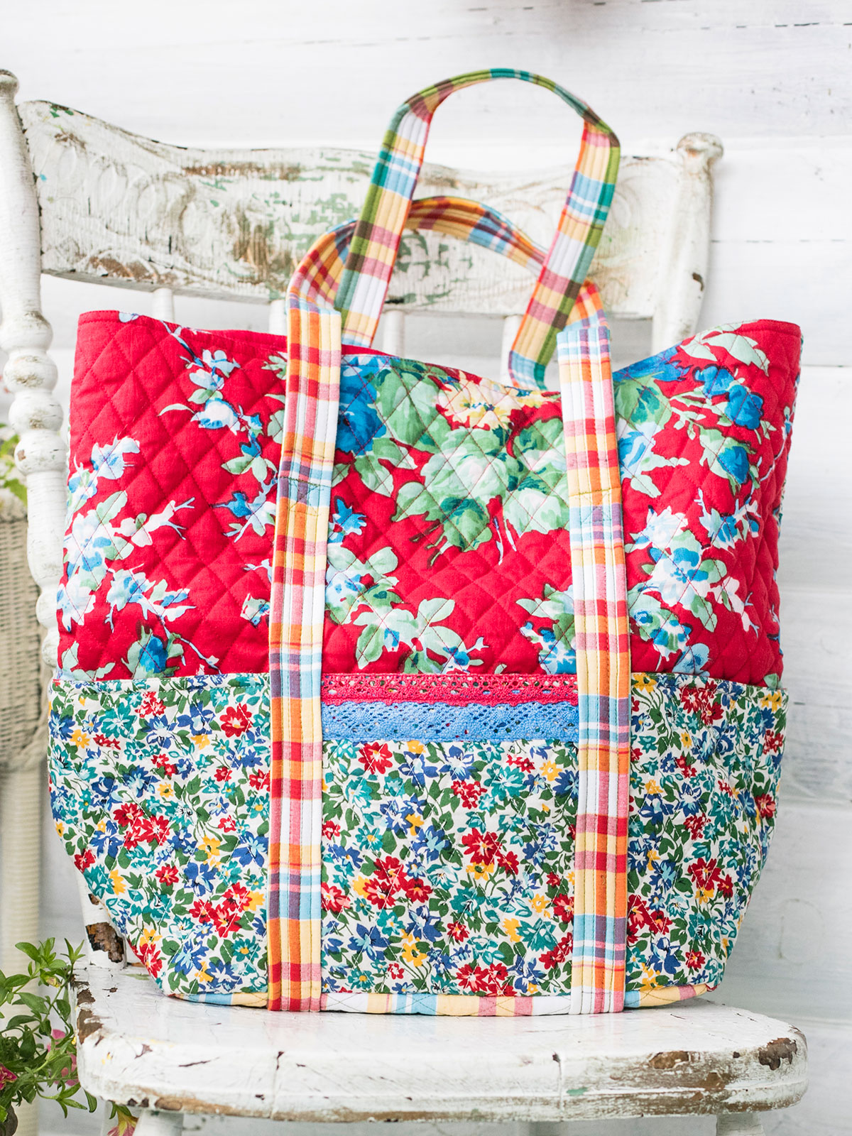Primary Patchwork Quilted Tote