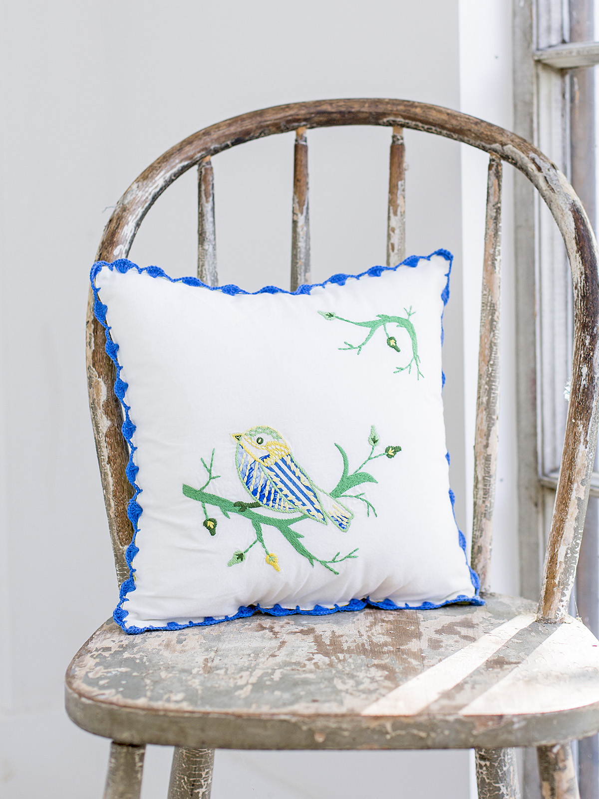 Bird Embroidery Cushion