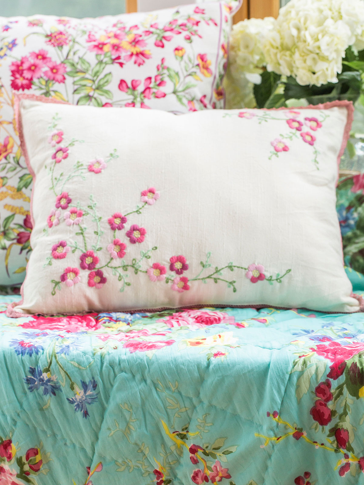 Cherry Blossom Embroidered Cushion