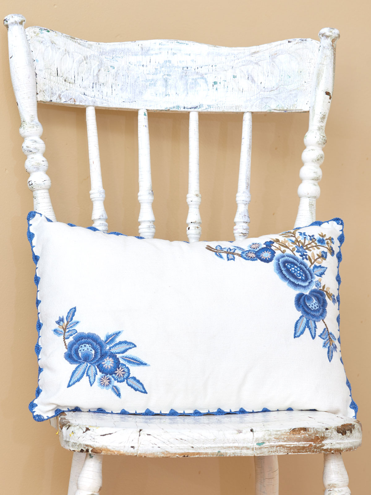 Delft Embroidered Cushion