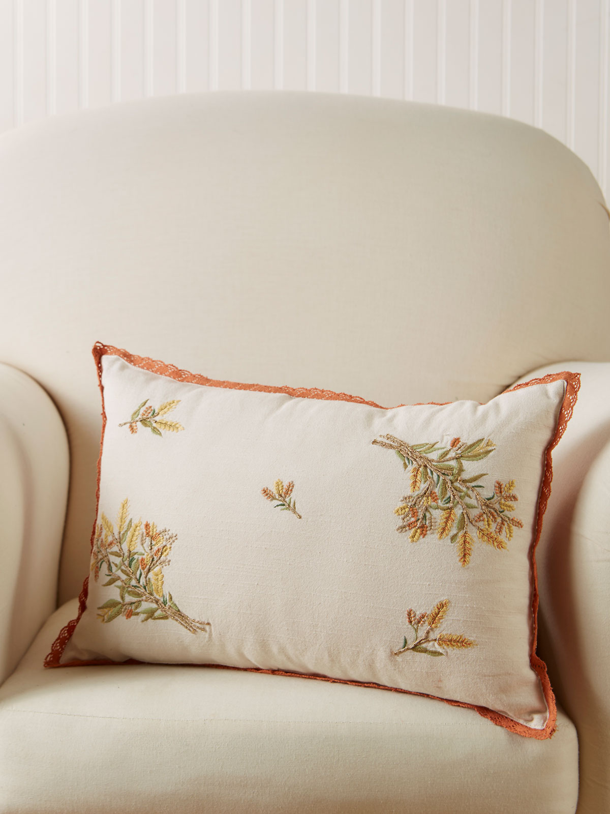 Golden Fields Embroidered Cushion