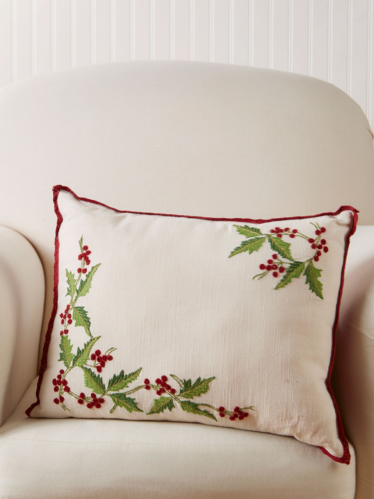 Hazel's Holly Embroidered Cushion