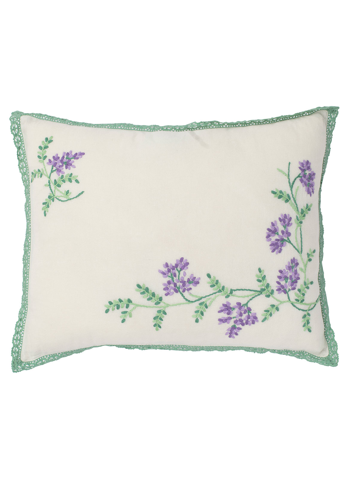 Lavender Blossom Embroidered Cushion
