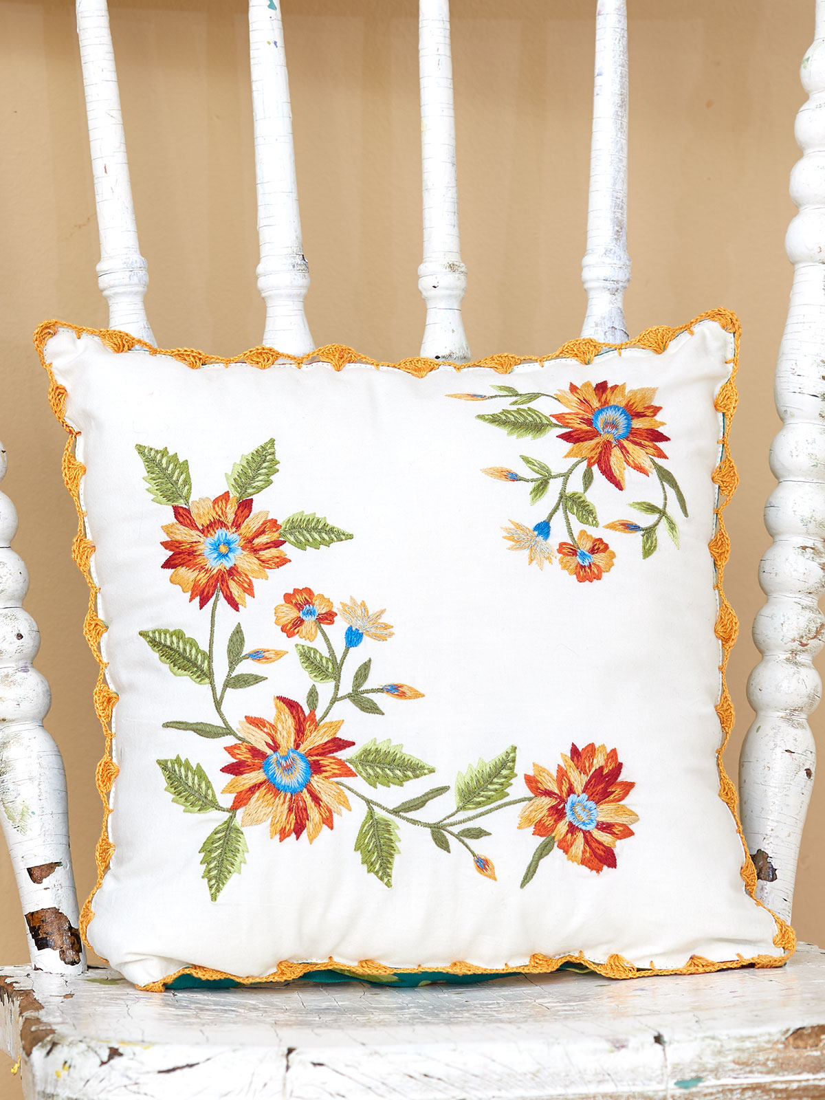 Marguerite Embroidered Cushion