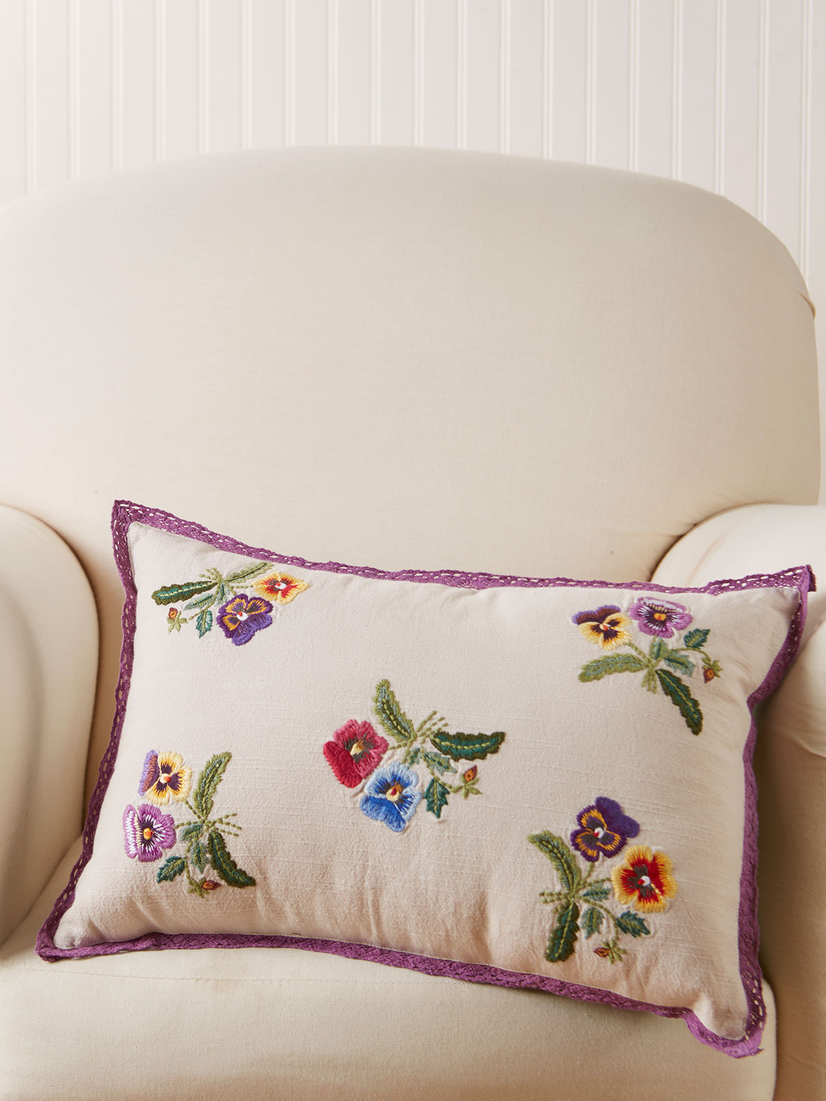 Pansy Embroidery Cushion