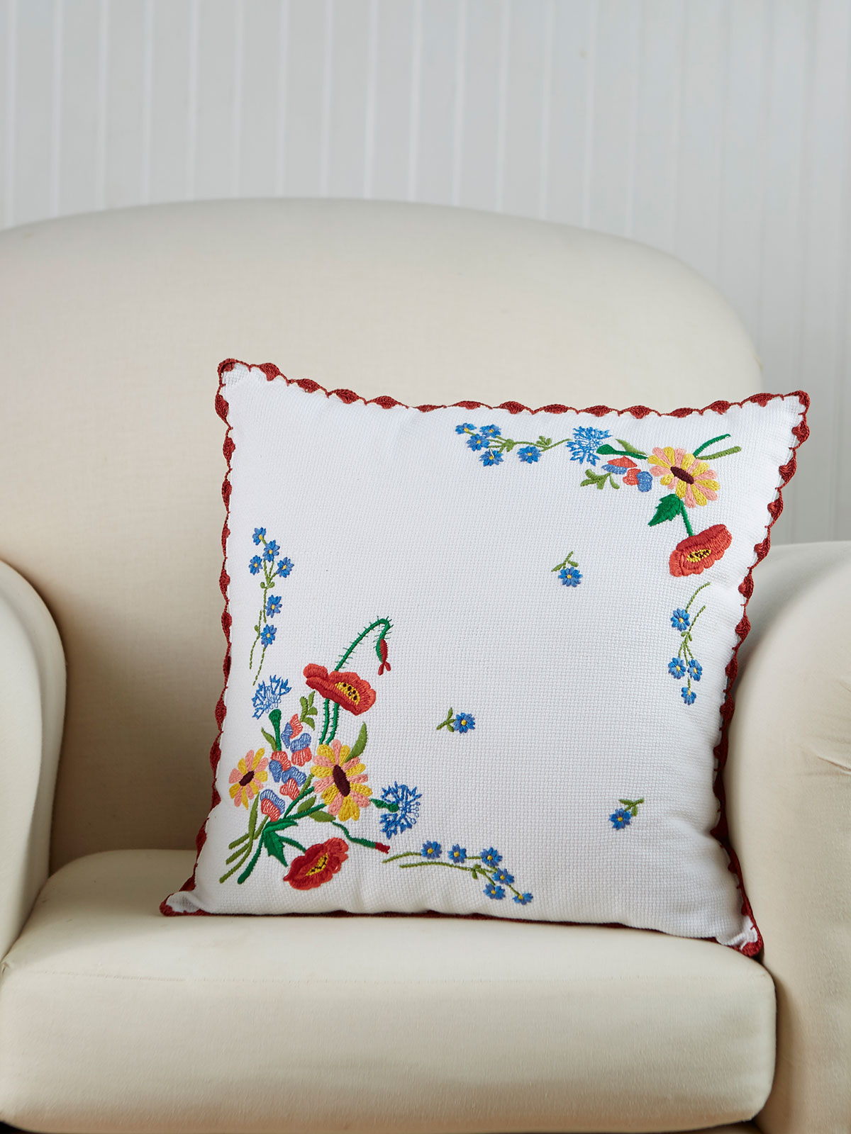 Patty's Picnic Embroidered Cushion