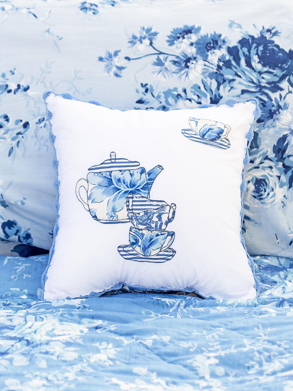 Provence Tea Party Embroidery Cushion