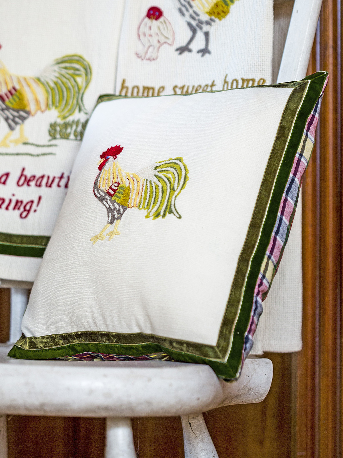 Rooster Embroidered Cushion