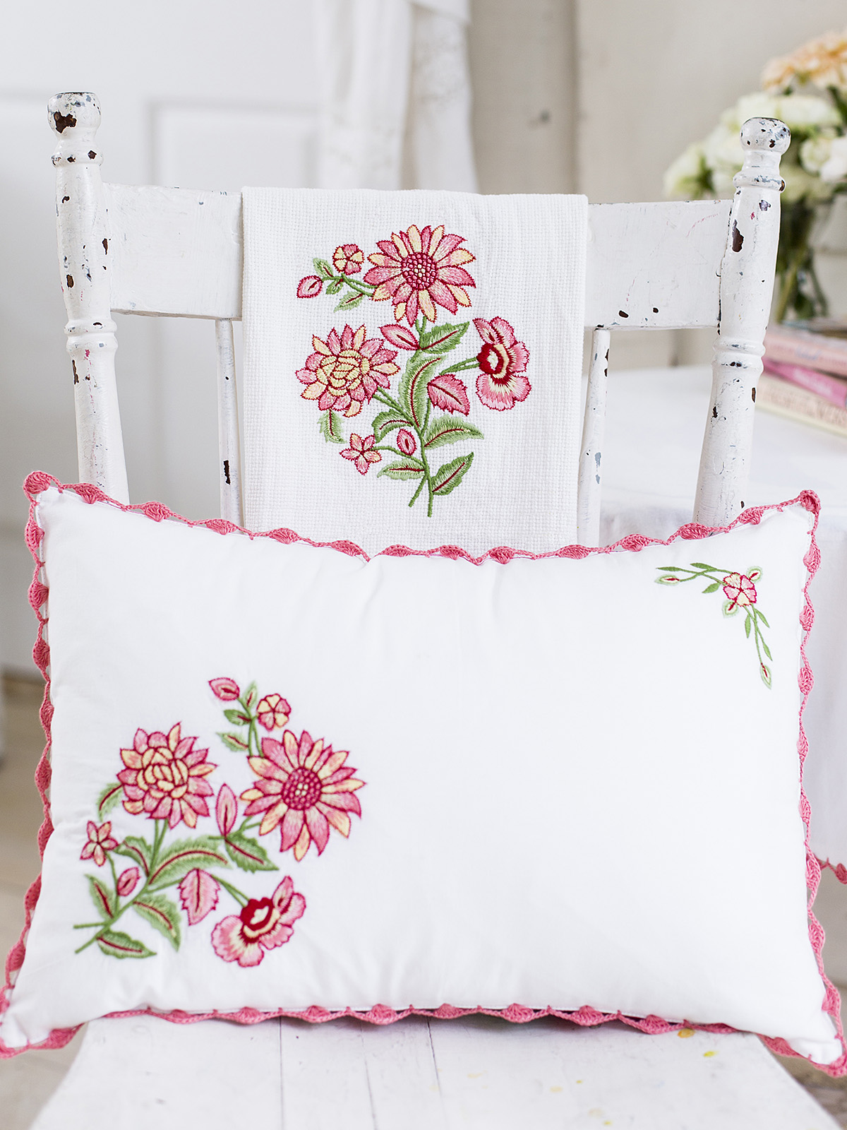 Spring Bouquet Embroidery Cushion