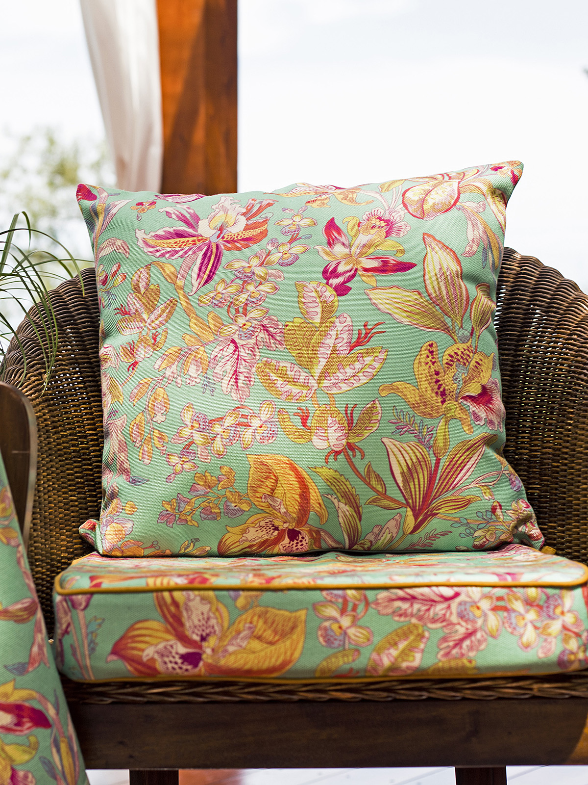 Orchid Study Outdoor Cushion with Filler