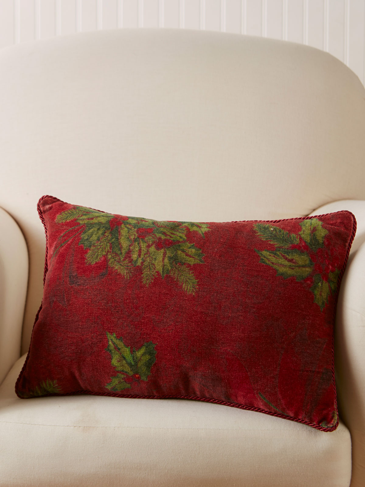 Deck The Holly Velvet Cushion