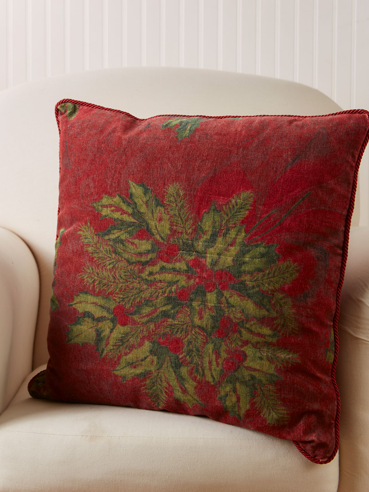 Deck the Holly Velvet Cushion Cover