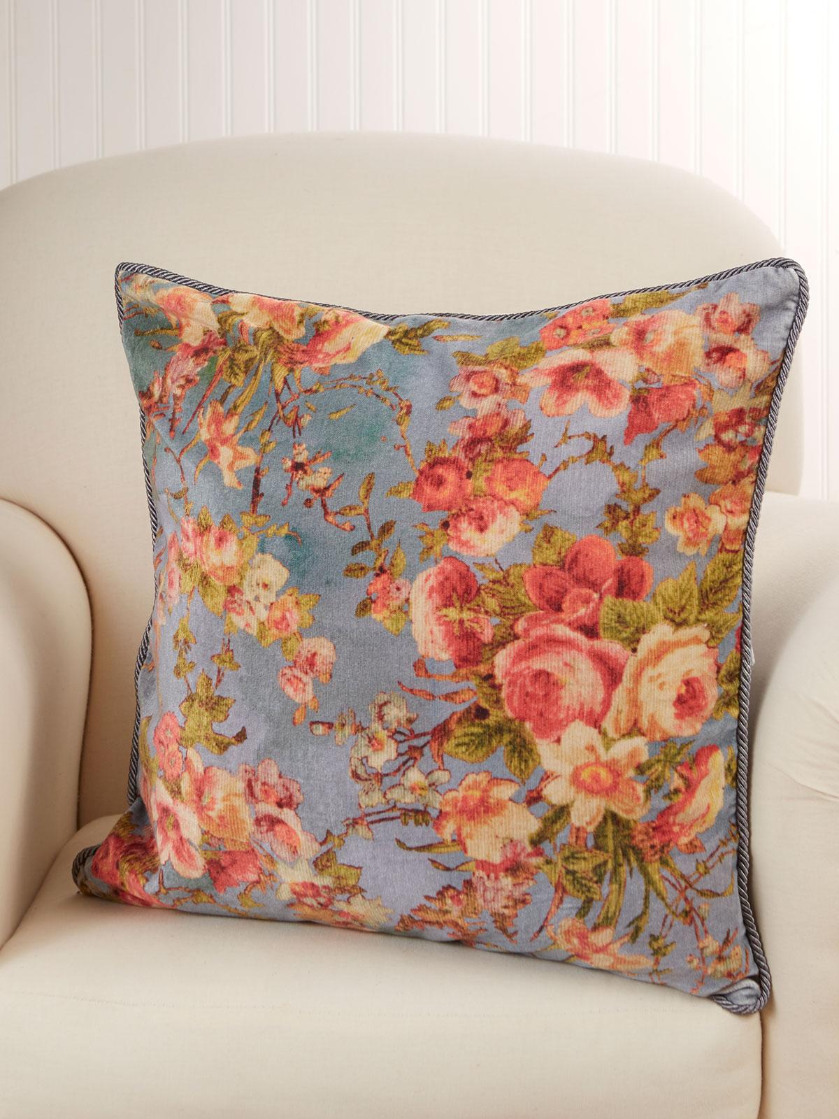 English Garden Velvet Cushion Cover