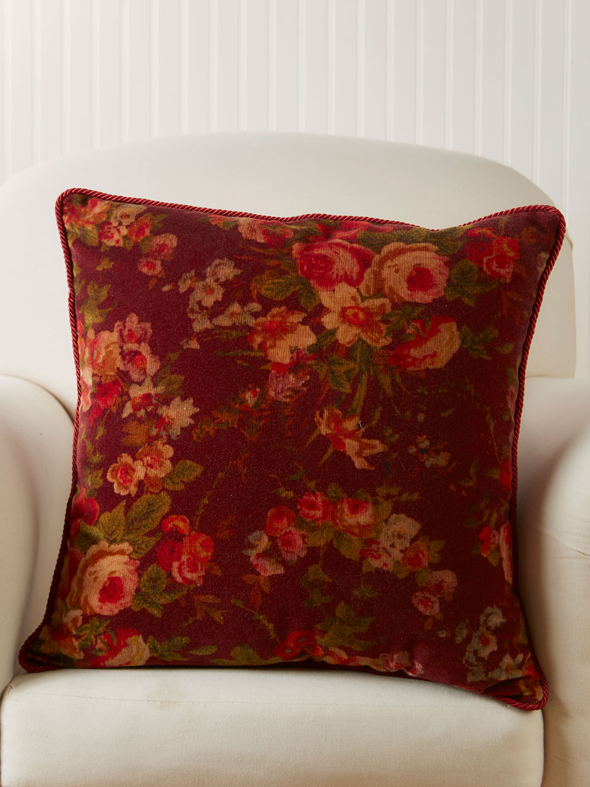 English Garden Velvet Cushion Cover