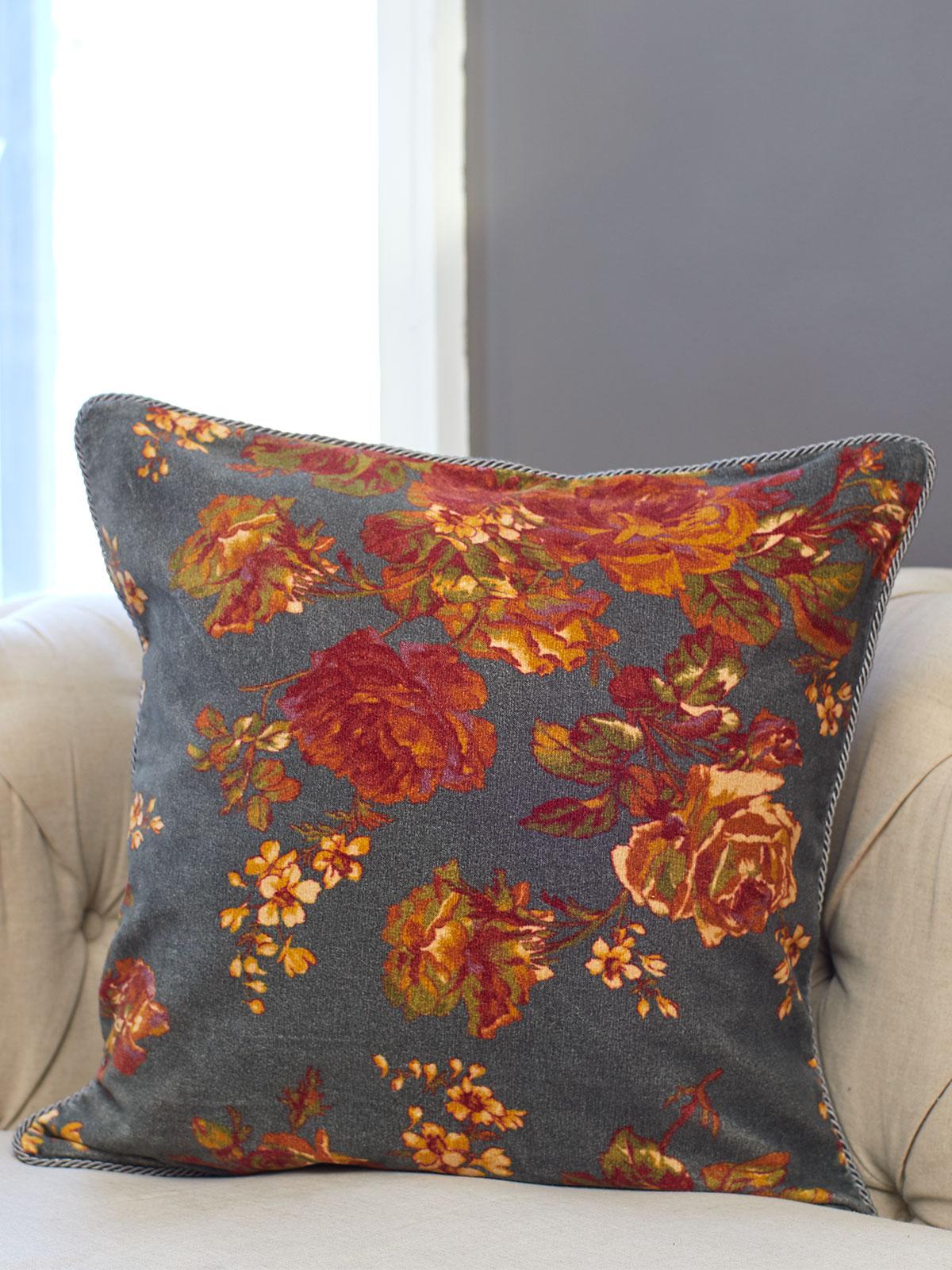 Victorian Rose Velvet Cushion Cover