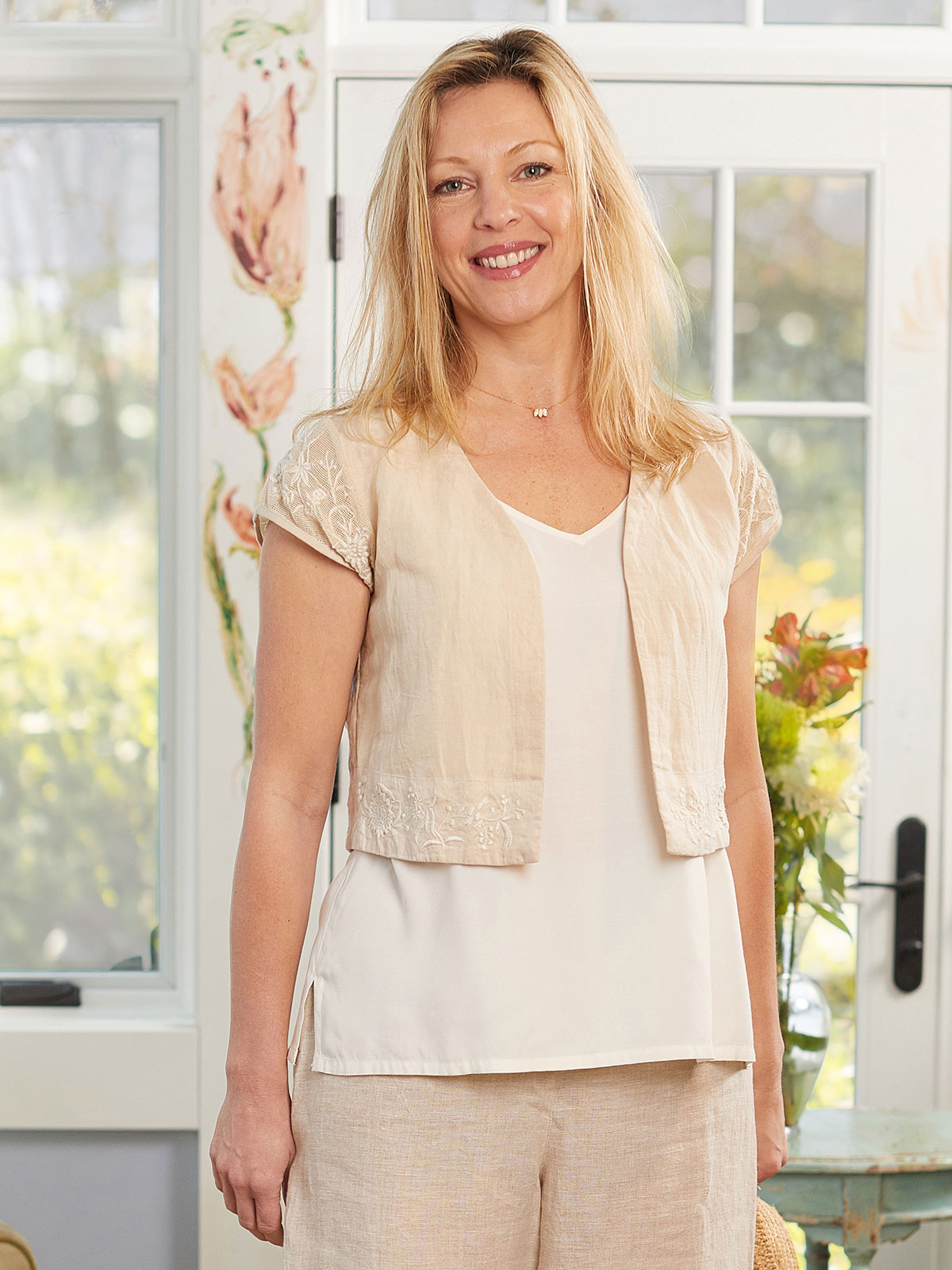 Mori Embroidered Linen Cover Up