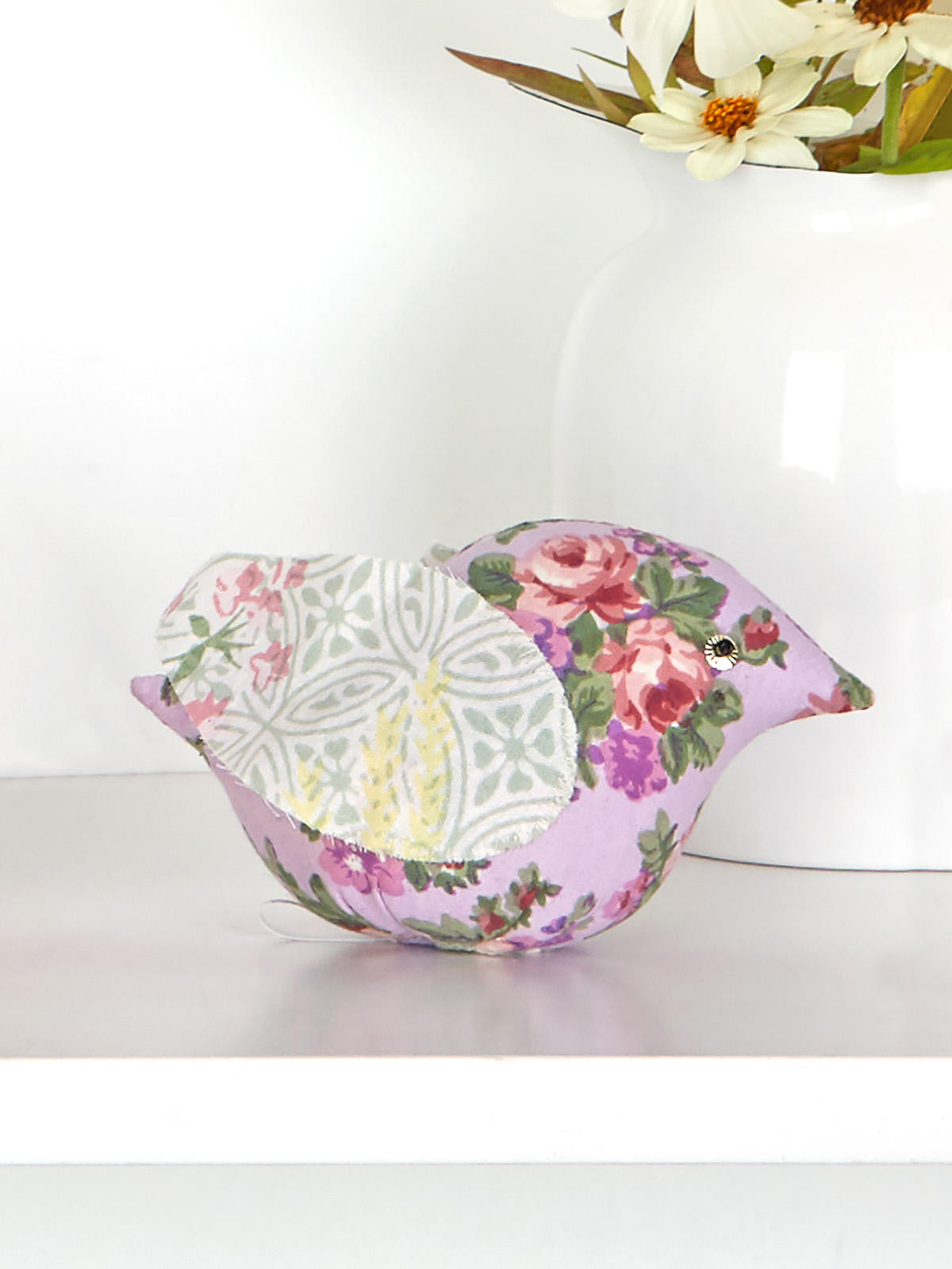 Tea Garden Patchwork Bird Pin Cushion