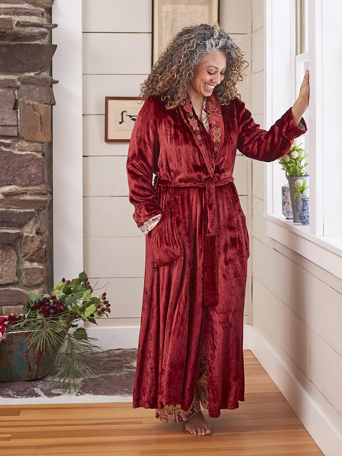 Berry Velvet Dressing Gown