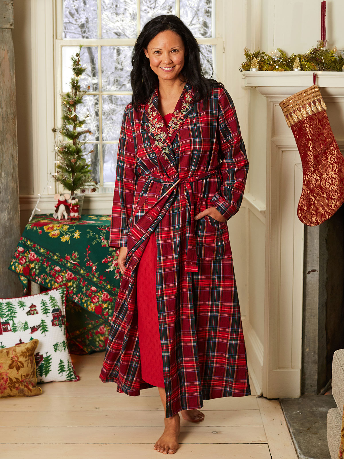 Carole Plaid Dressing Gown