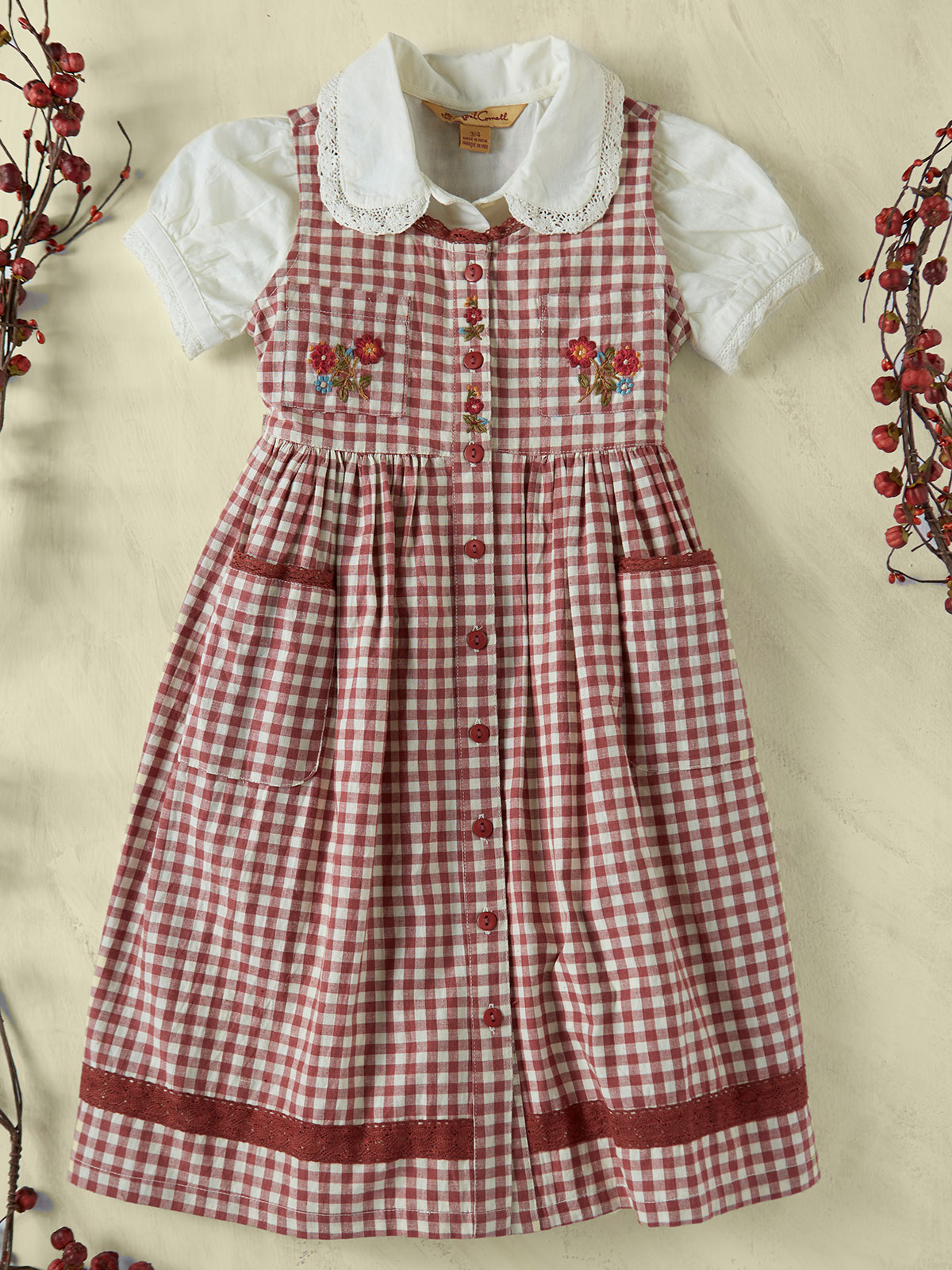 Carolina Check Pinafore Girls Dress