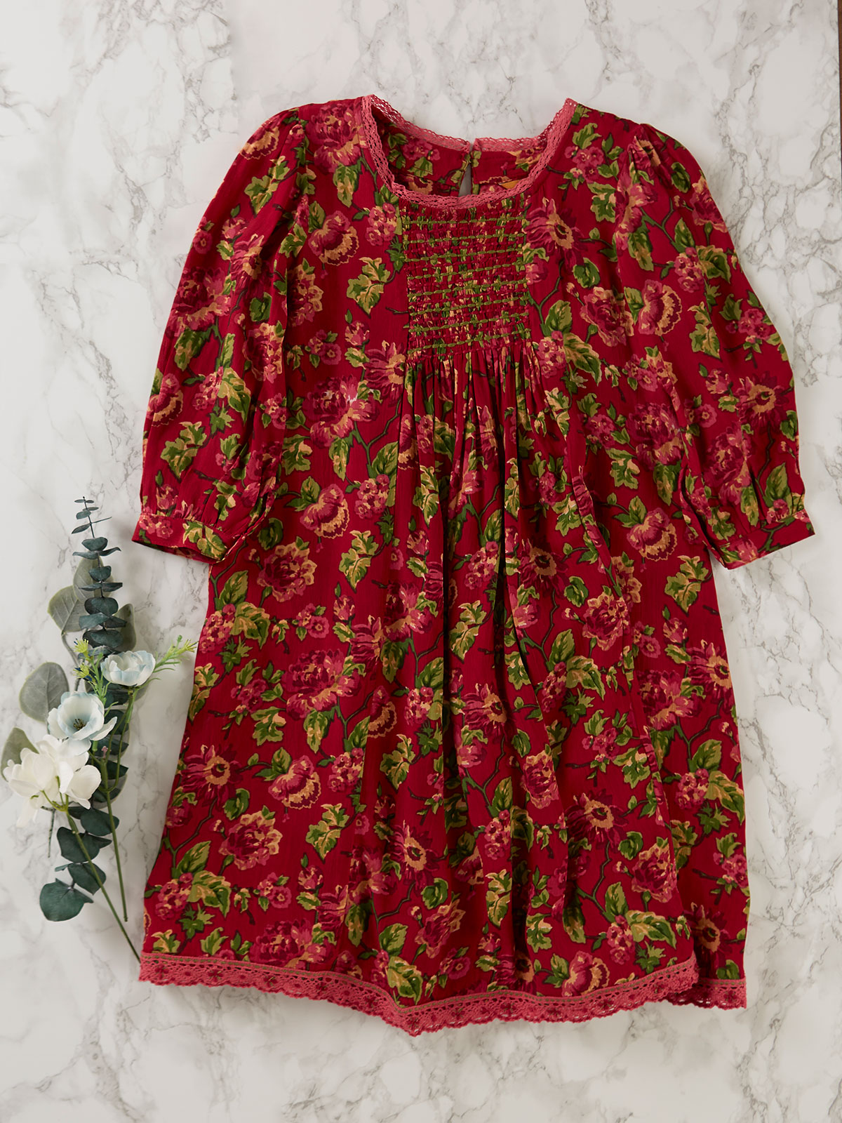 Folk Rose Girls Dress