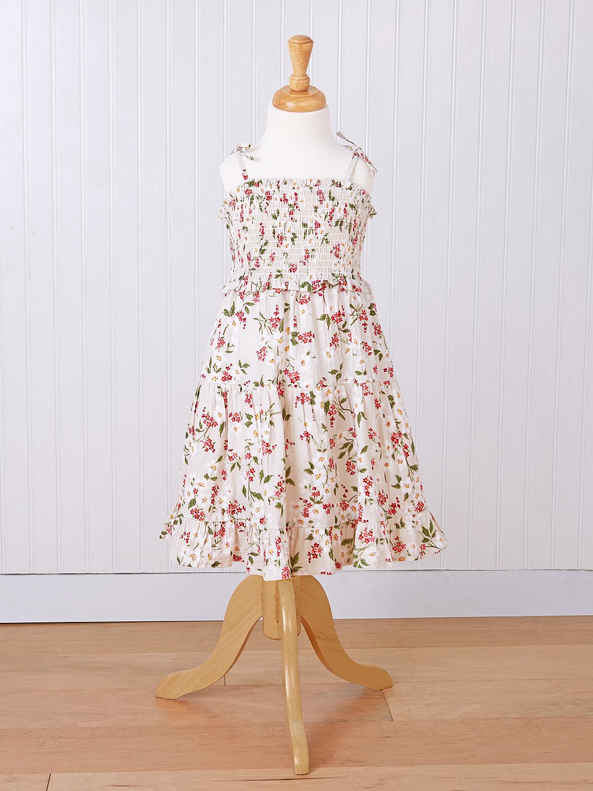 Strawberry Smocked Girls Dress