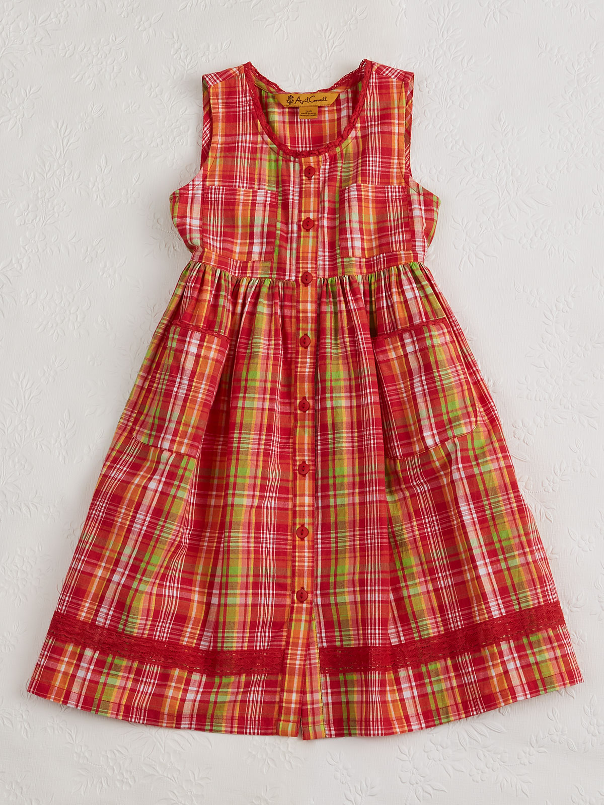 Watermelon Plaid Girls Dress