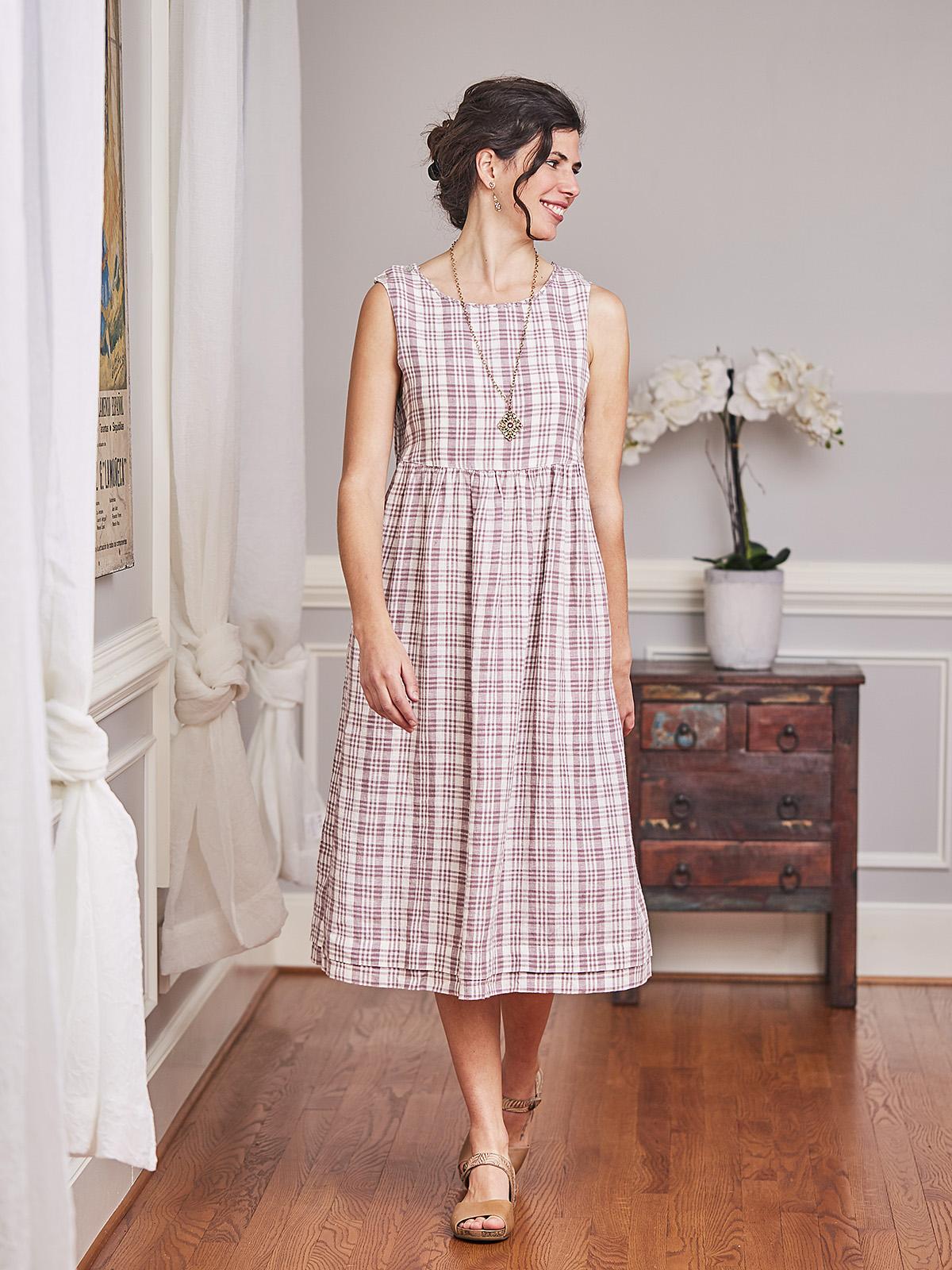 Amethyst Linen Check Dress