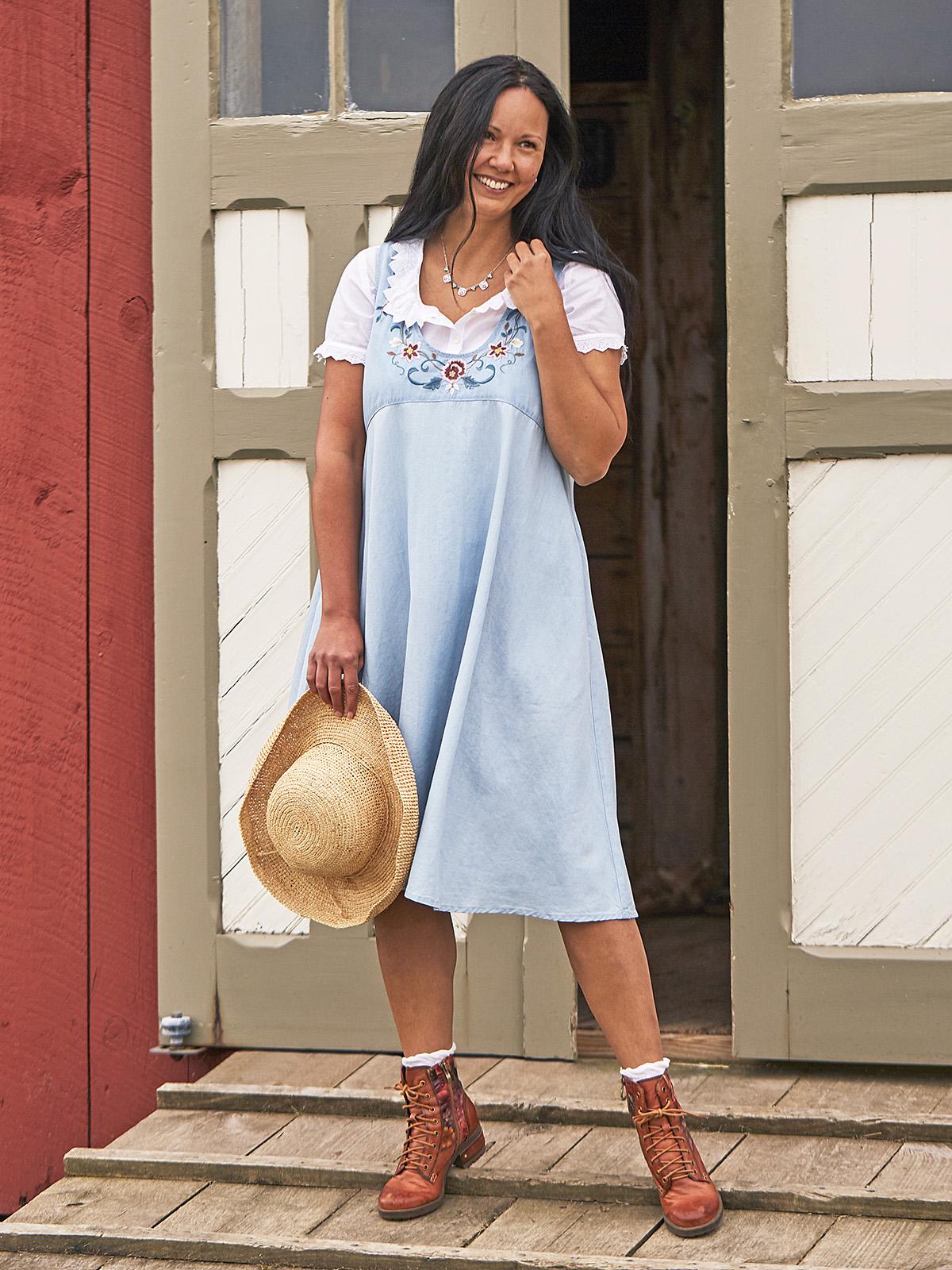 Becca Denim Pinafore Dress