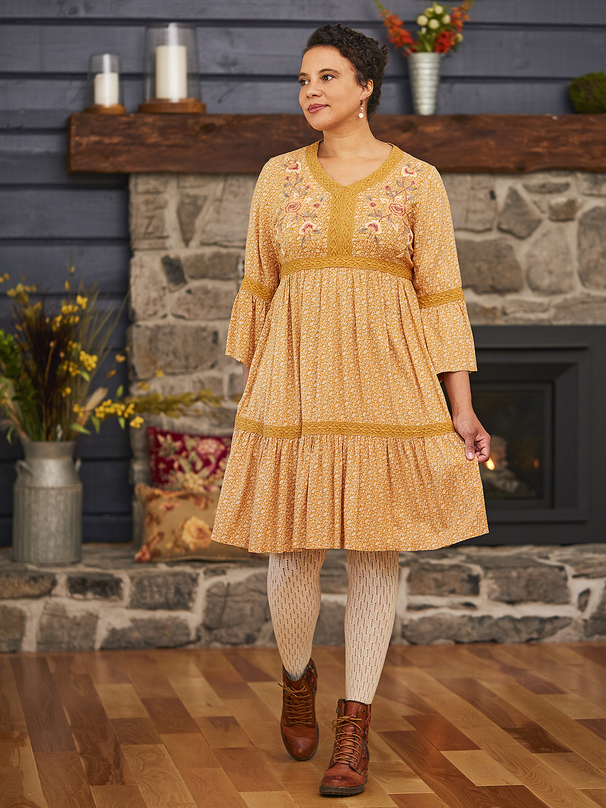 Fall Forget Me Not Peasant  Dress