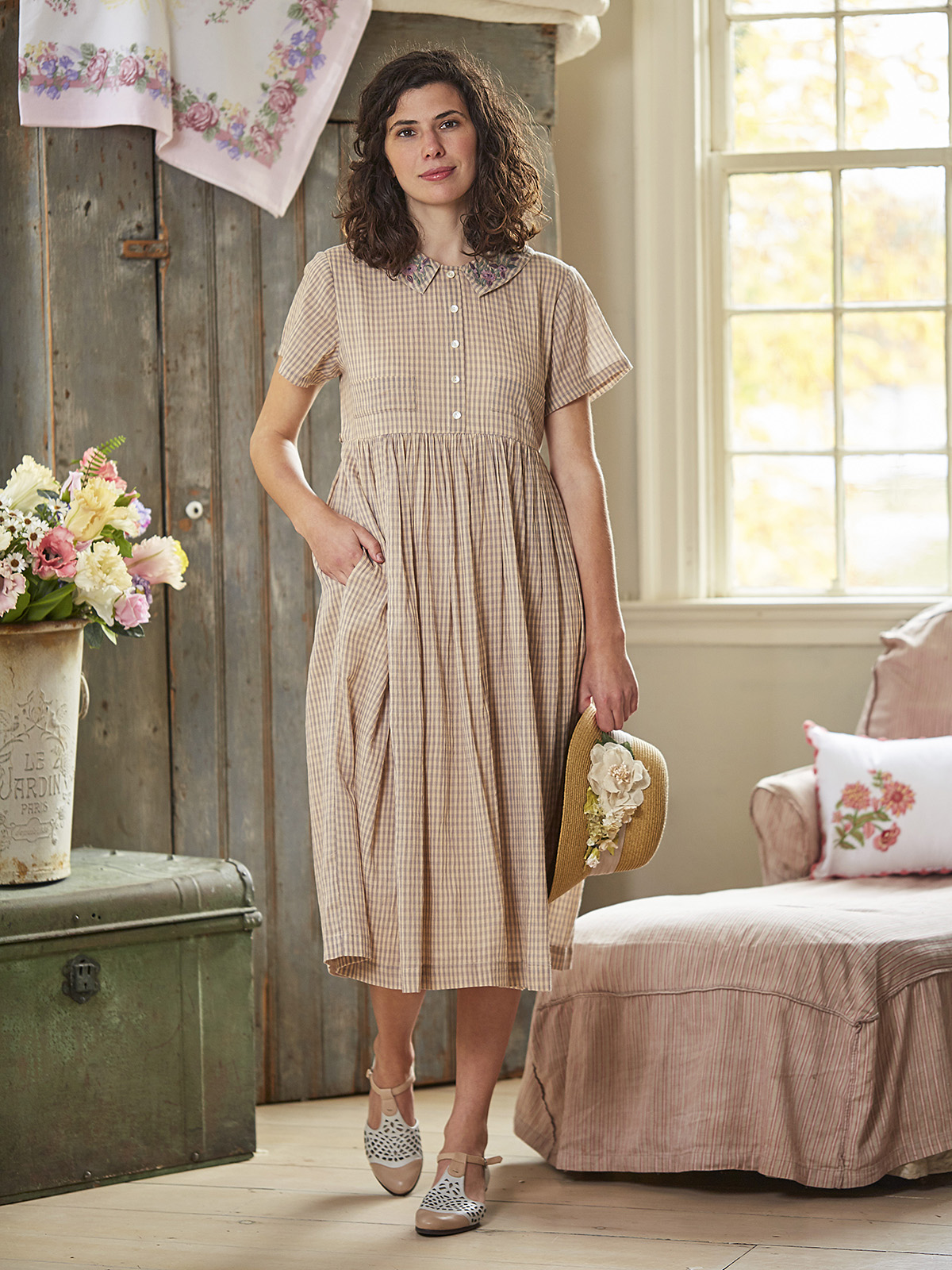 Cottage Check Collared Dress