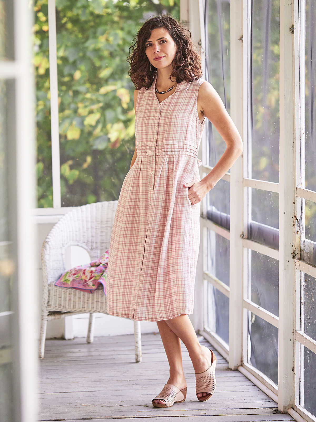 Rosy Linen Check Dress