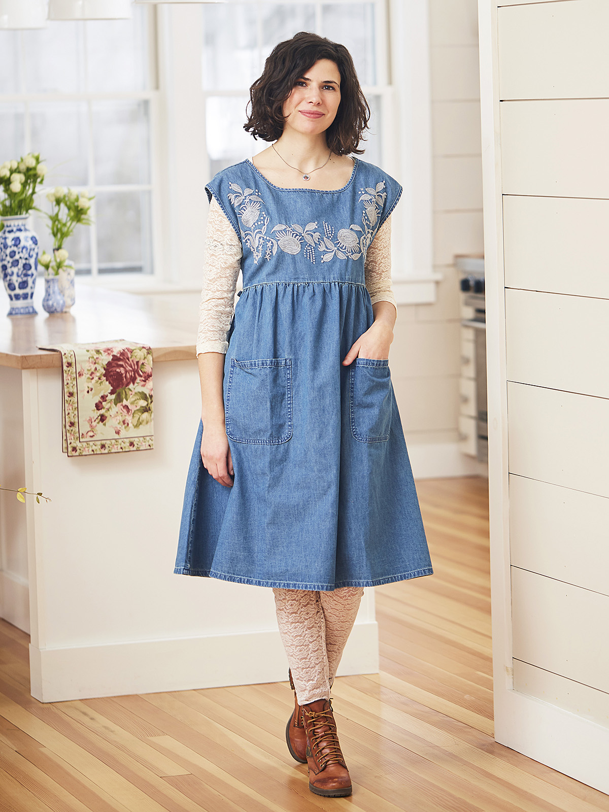 Prairie Smock Denim Dress